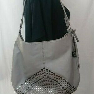 E SAK Handbag  Gray  Studded  Leather   Hobo